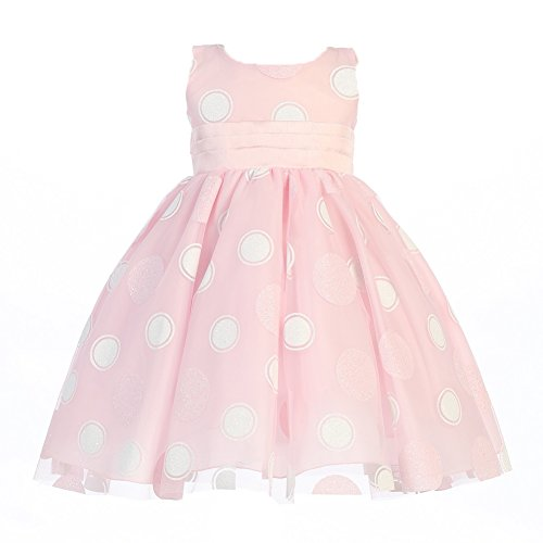 Lito Baby Girls Pink Glittered Polka Dot Tulle Easter Dress 3-24M