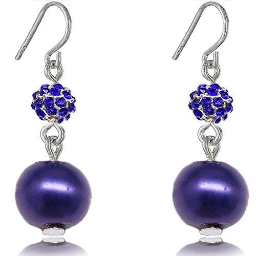 Fashion Orecchini pendenti con perla finta Fireball Soft Cream 8 mm e Rame, colore: blu, cod. Fireball400