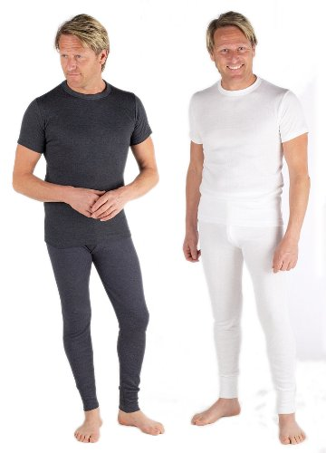 Set Of 2 Colours Thermal Underwear Set Short Sleeve Vest & Long Johns, Various Sizes