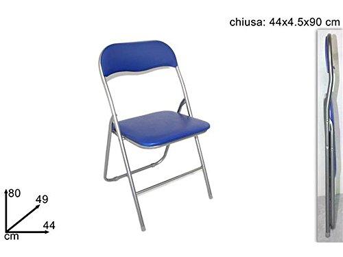 Sedia pieghevole imbottita struttura in metallo per casa e campeggio sedie blu