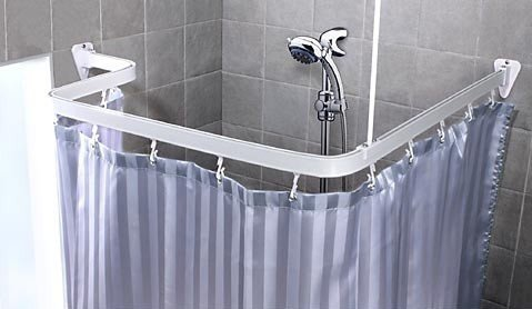 Bendable Shower Curtain Rod, White Finish