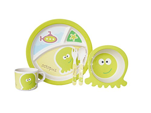 Bamboo Fiber Funny Kids Set Octopus Bpa Free, Non-Toxic [Free Baby Meal Organic Supplement]