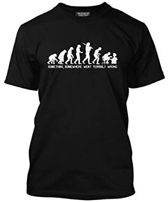 HotScamp Premium Evolution of a PC Geek Mens Black Ape T-Shirt (Small)