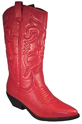 Soda Women Cowgirl Cowboy Western Stitched Boots Pointy Toe Knee High RENO-S Red 8.5