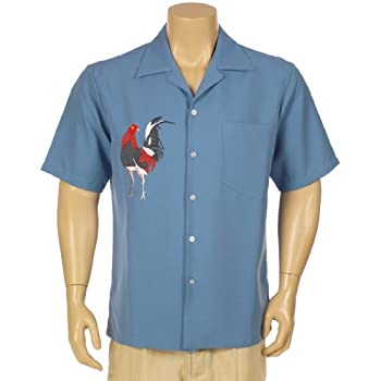 Men's short sleeve shirt with rooster embroidered design
