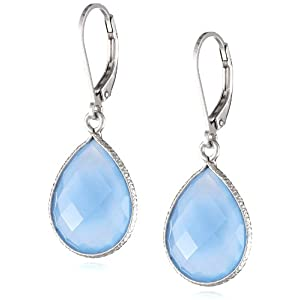 Sterling Silver Faceted Blue Chalcedony Pear Shape Leverback Earrings