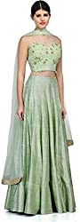 J And J Fashion Women's Georgette Anarkali Lehenga Choli (Jandjfashiongreenlahengacholi_Green_Free Size)
