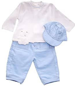 Emile et Rose Velour Top and Cord Trousers with Hat, Trouser Sets, Baby boy, 3-6 months