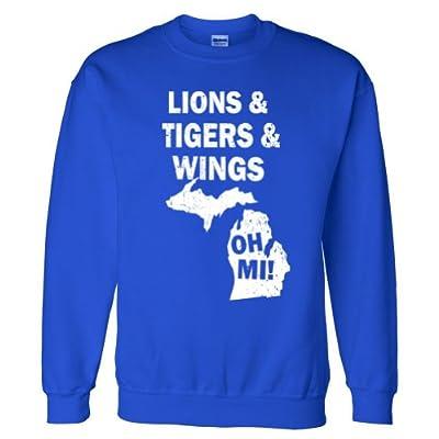 Lions Tigers Wings Oh MI Vintage Sweatshirt Sweater