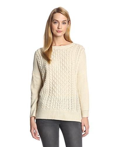 Cliché Women's Classic Cableknit Sweater  [Natural]