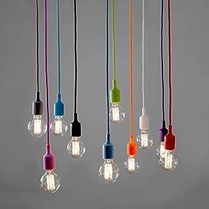 MiniSun - Contemporary ES E27 Designer Ceiling Suspension Rose / Braided Flex Lamp Holder Pendant Light Fitting Kit from MiniSun
