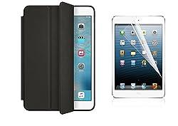 TOS Premium Smart Case Flip Cover and Screen Guard For iPad Mini 4 (Black)
