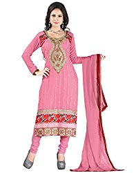 Lookslady Georgette Pink Women Clothing Semi Stitched Salwar Kameez Suit