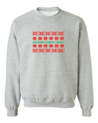 Festive Threads Christmas Sweater Design Season'S Greetings Adult Sweatshirt (Heather Grey, 3X-Large)