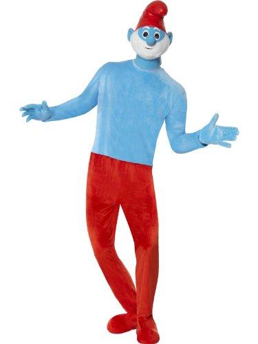 Hochwertiges Deluxe Papaschlumpfkostüm Papaschlumpf Kostüm Papa Schlumpf die Schlümpfe hochwertig mit Maske rot blau für Herren Herrenkostüm Gr. 48/50 (M), 52/54 (L), Größe:M
