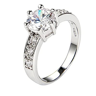 AMDXD Jewelry 18K Gold Plated Women's Fashion Figure Rings Incanto Shinning Six Claw Classic Crown White