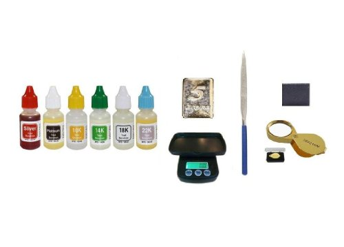 Complete PuriTEST Metals Testing Kit with Digital Scale, Stone, File, Gold Loupe and Free 5gr Solid Silver Bar