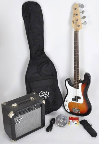 SX Ursa 1 JR RN PK 3TS Sunburst Left Handed Bass Guitar Package w/Free Amp Bag, Strap and Instructional DVD