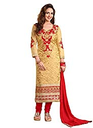 Blissta Beige cotton embroidered salwar suit dress material