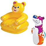 Param Ntex Inflatable PVC Bear Animal Chair With Intex Inflatable PVC Hit Me Tiger 3D BOP Bag