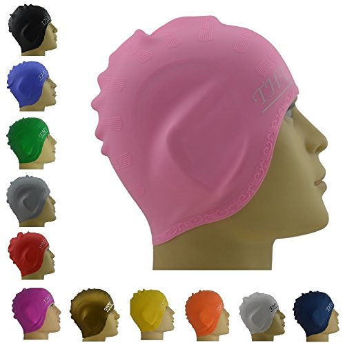 #1 Long Hair Silicone Swim Cap - Perfect To Keep Hair Dry - The Premium Silicone Swimming Caps For Long Hair With Beautiful Design Highly Elastic & Large Stretch - Suitable For Girls With Long Hair - Greater Durability Than Latex Swimming Caps - Unise...
