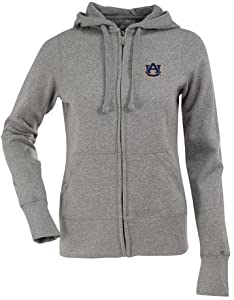 Auburn Ladies Zip Front Hoody Sweatshirt (Grey) by Antigua