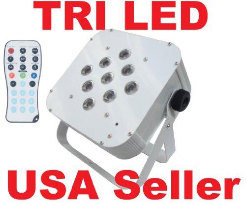 Flat 3 Watt Tri Led Rgb Par Can Puck Style Dmx Light Slim 3W With Remote Control Rc White Housing