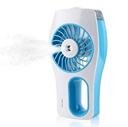Niceshop Portable mini USB Rechargeable Cooling Replenishment Fan Powered by 18650 Rechargeable 3 Speeds Hydrating Fan (Blue)