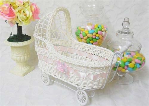 11 1/2`` Wicker Baby Girl Carriage - Baby Shower Centerpiece Stroller
