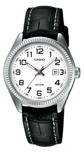 Casio Collection - Reloj de mujer, correa de piel color negro