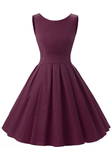 Dressystar Vintage Dresses 1950's Retro Party Swing Dress Hepburn Style Dress XL Burgundy
