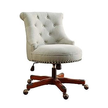 Linon Sinclair Office Chair Natural - Dark Walnut Wood Base