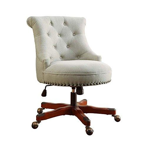 Linon Sinclair Office Chair Natural - Dark Walnut Wood Base 0