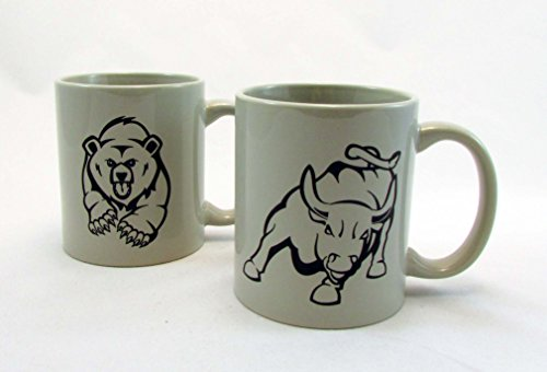 Wall Street Bull & Bear Coffee Mugs -Light Grey - Stock Market