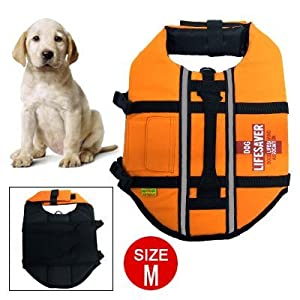 Size M Night Reflective Pet Saver Dog Life Jacket Vest by uxcell