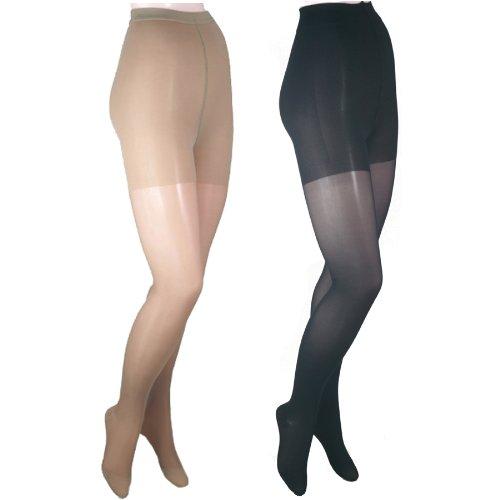 GABRIALLA Sheer Pantyhose - Compression (23-30 mmHg): H-330, 2 Count, Petite, Beige/Black