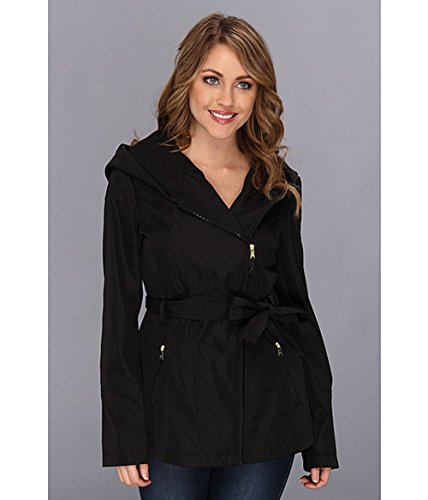 Jessica Simpson Womens Hooded Asymmetrical Zip Trench Coat, Black, Small