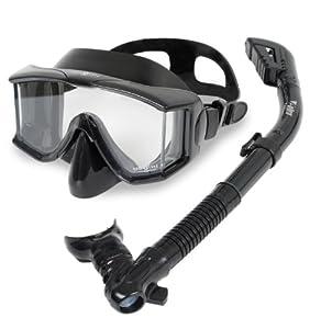 Aqua Lung Sport Panoramic Purge Mask Snorkel Set, All Black