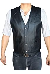 Men's Motorcycle Vest Genuine soft Leather Black syle 950