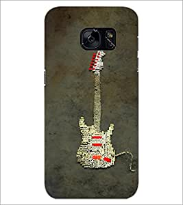 PrintDhaba Typographic Guitar D-3857 Back Case Cover for SAMSUNG GALAXY S7 (Multi-Coloured)
