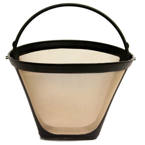 BESTSELLER UK #1 GOLD TONE REUSABLE CONE-STYLE #4 10-12 CUP COFFEE FILTER WITH HANDLE BEST BUY PRICE REVIEW UK