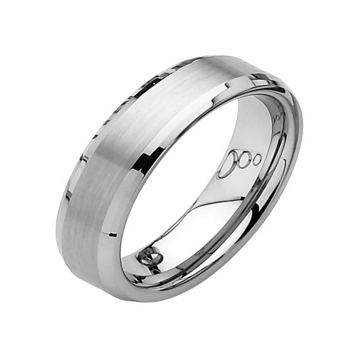 6mm Beveled Edge Tungsten Wedding Band Ring for Men - Size 8.5