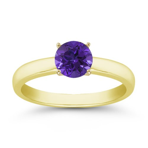 0.40 Carats 4mm Tanzanite Gemstone Solitaire Ring in 14K Yellow Gold