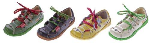 Leder Schuhe Damen Halbschuhe Sandaletten Schwarz Grün Gelb Weiß Schnürsenkel Bunt im Used Look TMA Eyes