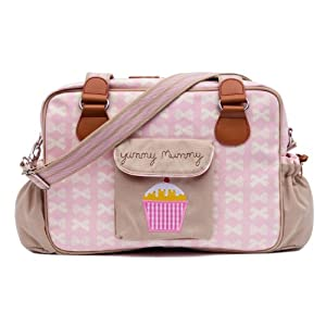 Yummy Mummy Stylish Nursery Changing Bag - Includes Travel Changing Mat Cupcake Design Luxury Baby Bag - Colour Cream Bows On Pink from Pink Lining