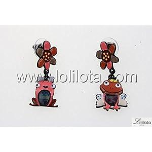 Boucles d oreilles Lolilota Grenouille Couple Corail