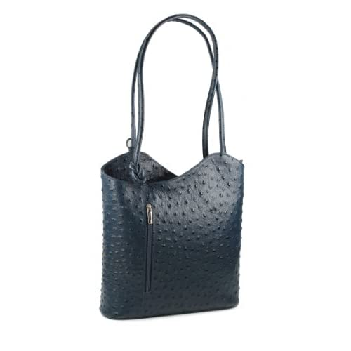 Belli® Italian Handbag Women Shoulder Bag Backpack 2in1 Genuine Leather Ostrich Embossing Blue - 28x28x8 cm (W...