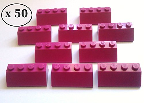 lego-50-x-magenta-dark-pink-roof-tiles-2-x-4-pin-slope-45-item-number-3037-brand-new-taken-from-lego