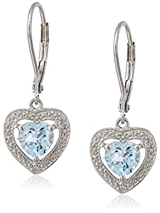 Sterling Silver Blue Topaz and Diamond Heart Earrings (0.01 Cttw, H-I Color, I3 Clarity)