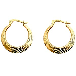 Wellingsale® Ladies 14k Yellow Gold Diamond Cut Polished 2.5mm Hinged Hoop Earrings (20 x 20 mm)